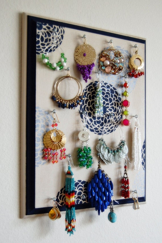 Beige Silver and Navy Blue Hand Painted  Wooden Wall Hanging Earring Tree Jewelry Organizer