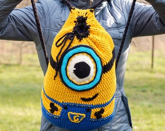 Could be made to order, Crochet minion backpack, Despicable me crochet backpack