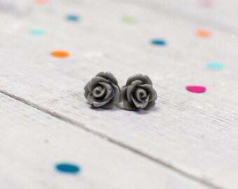 Grey Rose Earrings | Nickel Free Studs | For Sensitive Ears