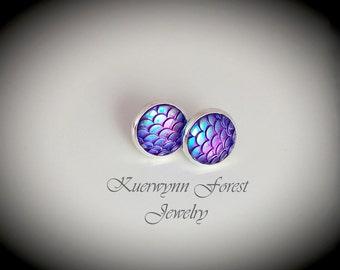 Mermaid scale earrings, Dragon Scale earring, purple earrings, mermaid jewelry, mermaid tail, dragon hide skin, fantasy earrings, iridescent