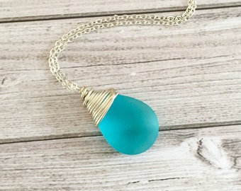 Blue necklace for her - Elegant jewelry gift for women - Silver sea glass jewelry - Mothers  gift - Teardrop Pendant - Swirl Wire Wrapped