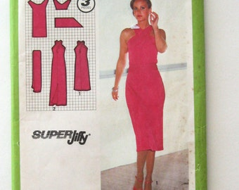 1970s Dress and Sash Pattern Simplicity 9063 Womens Super Jiffy Criss Cross Straps Maxi Dress Sewing Pattern Misses Size 12 Bust 34 UNCUT