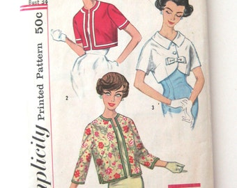 1950s Jacket or Bolero Pattern, Simplicity 2974 Womens Easy Day or Evening Wrap Jacket Sewing Pattern, Short or Long Sleeves Size 14 Bust 34