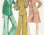 1970s Womens Unlined Jacket, Short Pantskirt & Wide Legged Bell Bottom Pants Simplicity Sewing Pattern 5931 Size 16 Bust 38 UnCut