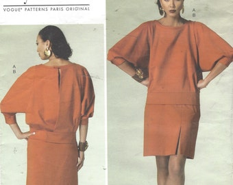 Guy Laroche Womens Batwing Top and Above Knee Skirt OOP Vogue Sewing Pattern V1284 Size 14 16 18 20 22 Bust 36 to 44 UnCut Paris Original