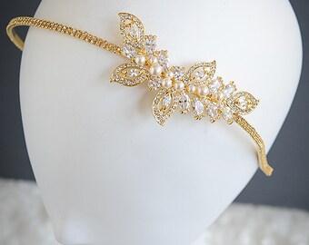 Gold Bridal Headband, Wedding Headband, Swarovski Pearl Hairband, Hair Vine, Leaf Headband,Wedding Hair Jewelry, Hair Accessories, AUGUSTINA
