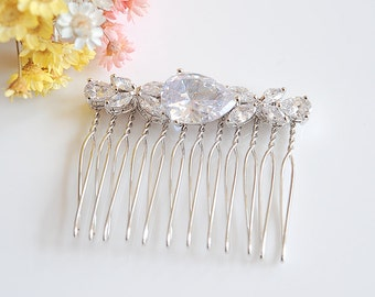 Wedding Hair Comb, Crystal Bridal Hair Comb, Bridal Headpiece, Teardrop Hairpin, Clover Leaf Hair Clip, Wedding Hair Jewelry, HARRIET