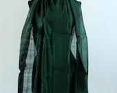 "Midnight Dark Green 100 % Thai Raw Pure Silk Scarf Shawl Wrap 24x62"" Large Handmade Fair Trade H43"