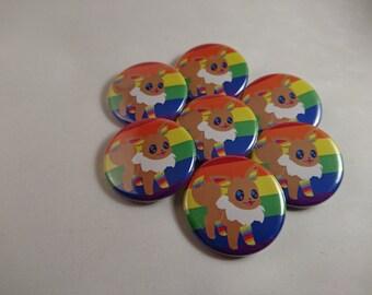 Eevee Rainbow - Pride Evolutions - Pokemon Eevee-lution LGBTA 32mm badge