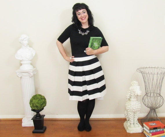 Black and White Striped Skirt full gathered and pleated skirt  knee length midi and maxi also in plus size