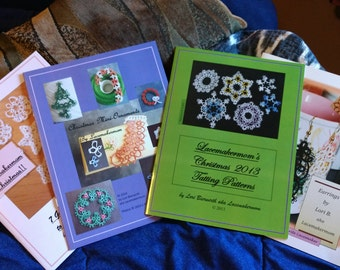 CHOOSE a  PATTERN  BOOKLET -- 1 Tatting pattern book to be mailed to you by post!! Christmas, Holiday, Earrings by Lacemakermom -- me!!