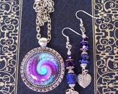 Earrings and Necklace Set (S545) -  Fractal Graphic Under Glass Dome - Silver Plated - Purple Crystals