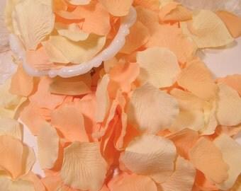 Rose Bulk Flower Petals, 200 Artificial Petals, Peach and Cream Wedding, Peach and Ivory  Flower Basket Petals, Craft Supplies