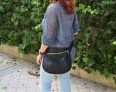 Belt bag,leather waist bag,hip leather bag,fanny pack leather,black leather bag,hip belt bag,rider bag,black leather fanny,zipper waist