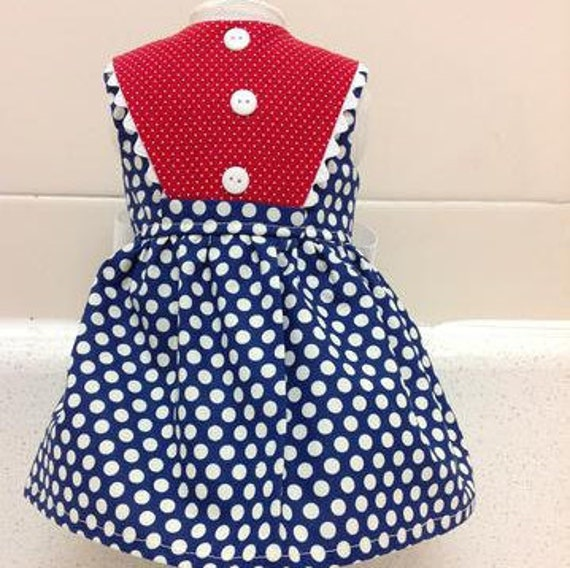 Navy with White Polka Dot Dress Merican Made 18 Inch Doll Clothes
