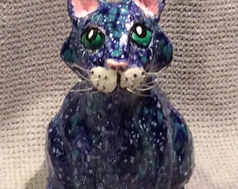 Art pottery Blue  Cat handmade  in U.S. From  a lump of  clay