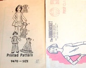 Girls Maxi, Jumper Dress, Blouse, Tunic Top Bell Bottom Pants Vintage 1970s Mail Order Sewing Pattern 9470 Size 4 Chest 23 Part Cut Complete