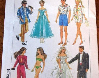 Simplicity 6967 309 Barbie Ken Clothes Wedding Bride Tux Gown Disco Honeymoon Wardrobe Vintage 1980s Craft Sewing Pattern Uncut Factory Fold