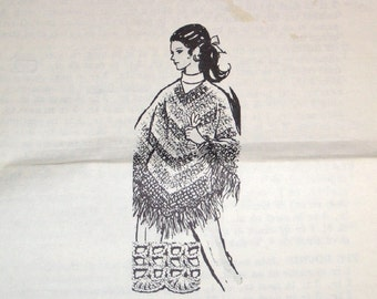Vintage 1970s Design Mail Order Crochet Pattern 870 Crocheted Shell Stitch Poncho Cape Womens Miss Size 8 10 12 14 16 Bust 31 32 34 36 38