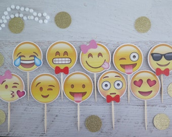 12 Emoji Smiley Faces Glitter Cardstock Cupcake Topper Cutouts - Birthday/party/baby shower/bridal shower/valentine/graduation