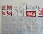 READY TO SHIP/Christmas Advent Calendar/   Reindeer and Christmas Tree  Red and Linen/ Christmas Countdown Calendar with Pockets in Scandi 2