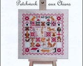 NEW Patchwork aux Chiens : Jardin Privé counted cross stitch patterns Dog Puppy hand embroidery