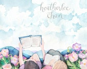 Best Friend Art - Sisters Art - Reading - Watercolor Print