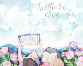 Best Friends - Sisters - Reading - Watercolor Painting Print