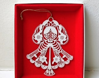 Mid Century Mod Angel Ornament Pierced Metal Filigree Danish Modern Flower Power Retro Christmas