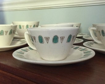 Metlox poppy trail Navajo cup and saucers, set of seven