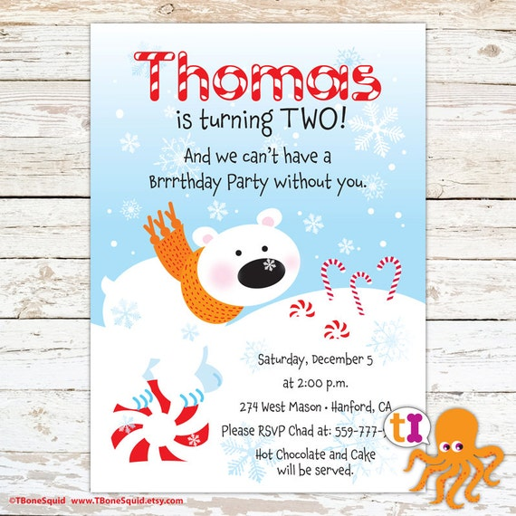 Polar Bear Birthday Party Invitation For Kids