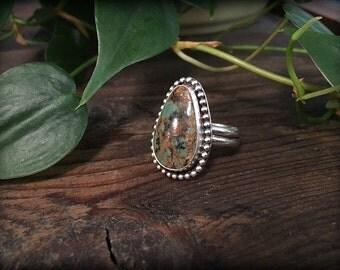 Variscite Sterling Silver Ring - Size 9 Varicite