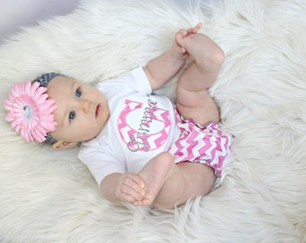 Personalized Baby Girl Clothes Newborn Girl Take Home Outfit Chevron Baby Girl Diaper Cover  Flower Headband Baby Gift Set