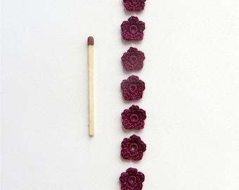 Microscopic Crochet Flowers, Vine Red Bordo Super Tiny Appliques, Valentine's Day Motives, Set of 7 Handmade Textile Scrapbooking Supplies