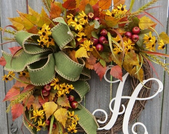 Wreath,NEW Fall Wreath with Green and Yellow, Fall Green , Country Chic, Monogram Wreath, Letter Wreath, Horn's Handmade, Etsy Wreath