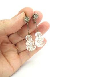 Art Deco Earrings. Rock Crystal Dangles. Hand Cut Crystals. Rhinestone Flower Screw Backs. Vintage 1920s Wedding Jewelry.