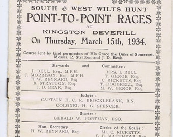 Antique Vintage Point to Point Races Thirties History British Hunt Horse Ephemera
