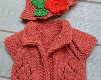 "Gorgeous cardigan and hat for Waldorf doll 14"" - 15"""