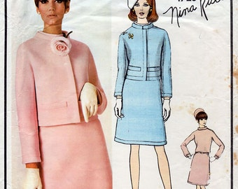 1960s Suit and Blouse Pattern by Nina Ricci Vogue Paris Original 1726 Vintage Sewing Pattern Jacket & A Line Skirt Bust 34 FF Unused