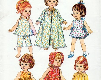 1970s Doll's Clothes Pattern Simplicity 5721 Vintage Sewing Pattern Dress Smock Top Robe Hat & Pants 24 Inch Doll FF Unused