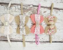 burlap headband, burlap bows, lace baby vintage headband, newborn headband, baby headband, baby, dainty bows, bow headband, posh peanut