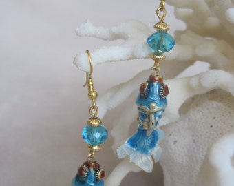 Clear Sky Blue  Cloisonne Wide Tail Koi Fish with Faceted Abacus Beads
