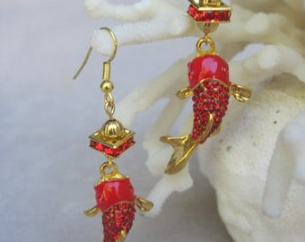 Vibrant Red Enameled and Red Faceted Crystals Gold Koi Fish Earrings