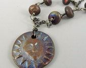 Sun Necklace Raku Ceramic Iridescent Colors, Sun Face Necklace, Sun Jewelry, Raku Jewelry