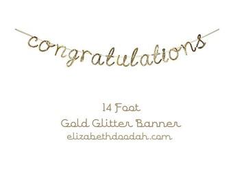 Congratulations Gold Glitter Party Banner Garland