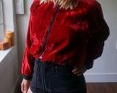 Vintage Crop Top Jacket XS S M Red Velvet Boho Hippie Gypsy Club Kid Grunge Hipster Mod 80s Jogger 90s Bomber Bohemian Art Festival Coat