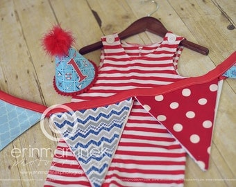 Boys First Birthday Party Outfit Or Cake Smash Set in Sailor Theme