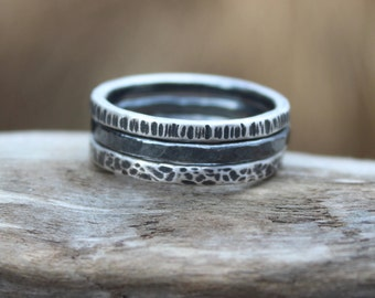 Silver Stacking Rings. Set of 3 Fused, Hammer Textured, Oxidized Fine Silver Stackable Rings. Arty Rings. Hand Forged Silver Rings.