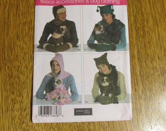 DESIGNER Dog Coat + Hat with Matching Polar Fleece Winter Hats, Mitts & Scarves - UNCUT Sewing Pattern Simplicity 4780