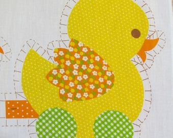 ADORABLE 1980s VINTAGE Bright Yellow Duck Button TOYS - Fun Folksy Printed Cotton Fabric Pillow Panel